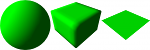 1: Sphere, cube and plane as basic CSG shapes